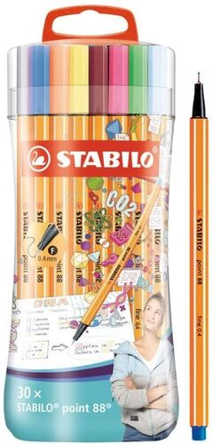 ESTUCHE 30 COLORES STABILO SLEEVE PACK POINT 88