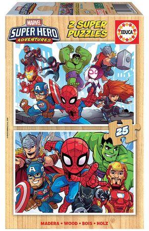 JUEGO 2 PUZZLES EDUCA 25 PIEZAS MADERA MARVEL SUPER HEROE ADVENTURES