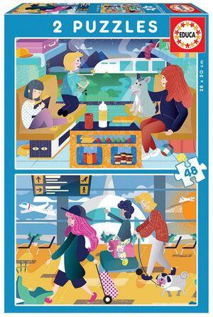 JUEGO 2 PUZZLES EDUCA 48 PIEZAS AEROPUERTO+TREN