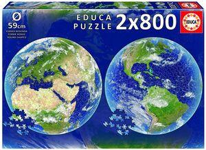PUZZLE EDUCA CIRCULAR 2X800 PIEZAS PLANETA TIERRA