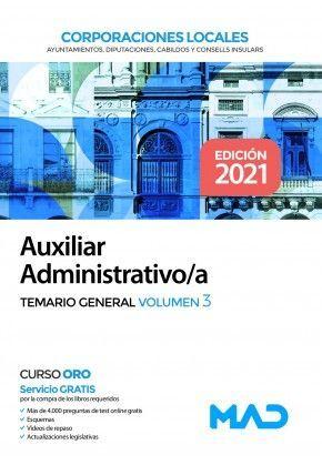AUXILIAR ADMINISTRATIVO/A CORPORACIONES LOCALES TEMARIO VOLUMEN 3