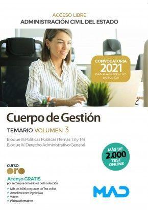 CUERPO DE GESTIÓN ADMINISTRACIÓN CIVIL DEL ESTADO ACCESO LIBRE TEMARIO VOLUMEN 3 2021