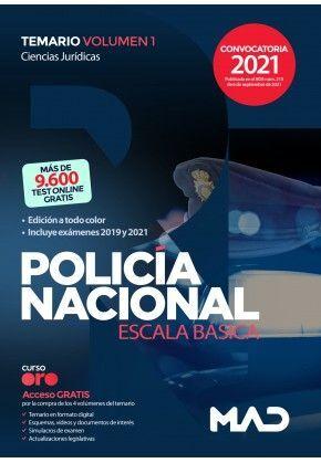 POLICIA NACIONAL ESCALA BÁSICA TEMARIO VOLUMEN 1 CIENCIAS JURIDICAS 2021
