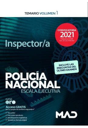 INSPECTOR/A POLICIA NACIONAL ESCALA EJECUTIVA TEMARIO VOLUMEN 1 2021
