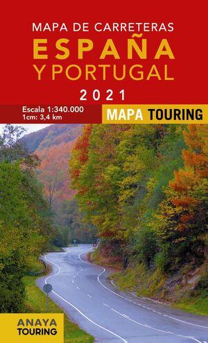 MAPA DE CARRETERAS ESPAÑA Y PORTUGAL 2021 ESCALA 1:340.000